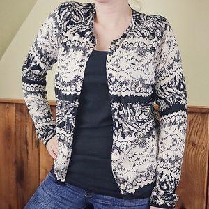 August Silk | Cream & Black Cardigan Sweater |  XL